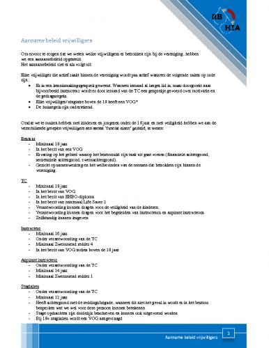 Aanname-beleid vrijwilligers Versie 1-10-16